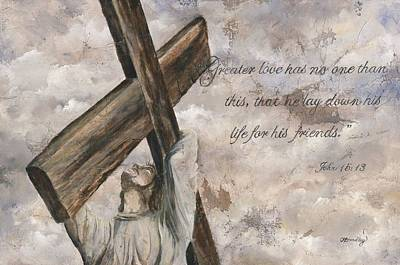 Christ Print featuring the mixed media No Greater Love by Chris Brandley