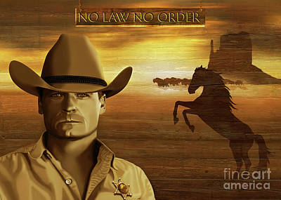 Bison Digital Art - No Law No Order Portrait Bailey Chase by Monika Juengling