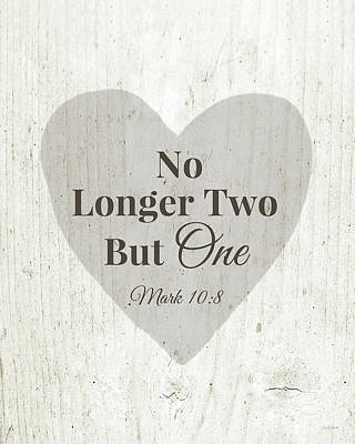 No Longer Two- Art By Linda Woods Print by Linda Woods
