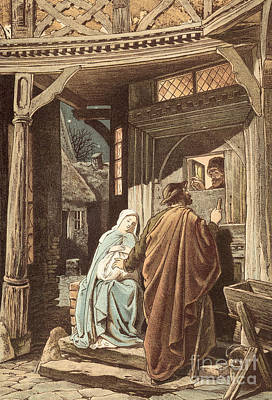 No Room At The Inn Print by Victor Paul Mohn