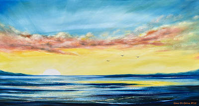 No Stress - Panoramic Sunset Painting Print by Gina De Gorna