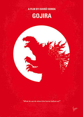 Lizard Digital Art - No029-1 My Godzilla 1954 Minimal Movie Poster by Chungkong Art
