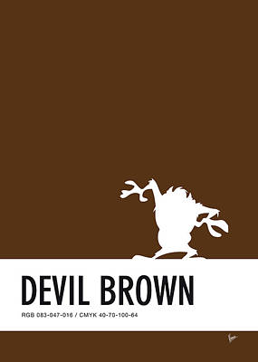 Woody Digital Art - No16 My Minimal Color Code Poster Tasmanian Devil by Chungkong Art