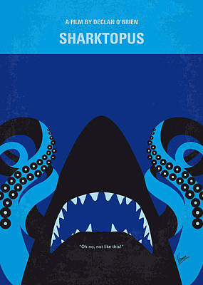 Great White Shark Digital Art - No485 My Sharktopus Minimal Movie Poster by Chungkong Art