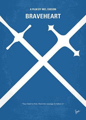 Scottish Digital Art - No507 My Braveheart Minimal Movie Poster by Chungkong Art
