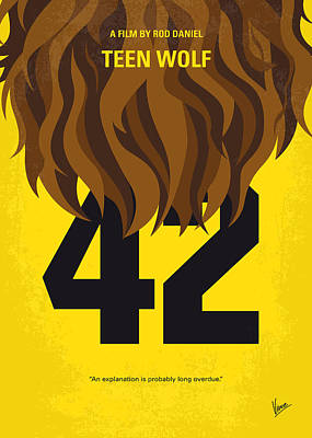 No607 My Teen Wolf Minimal Movie Poster Print by Chungkong Art