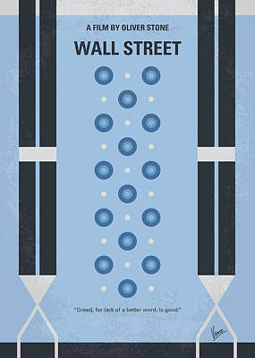 1980s Digital Art - No683 My Wall Street Minimal Movie Poster by Chungkong Art