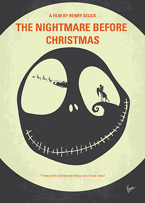 No712 My The Nightmare Before Christmas Minimal Movie Poster Print by Chungkong Art