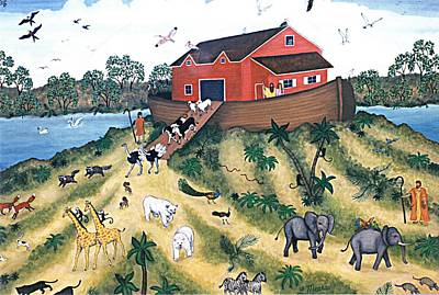Flood Painting - Noah's Ark by Linda Mears