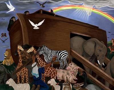 Noahs Ark Drawing - Noah's  Ark by Linford Barnes