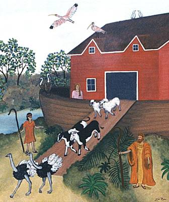 Noah Painting - Noah's Ark Two by Linda Mears