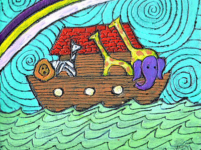 Noah Painting - Noahs Ark Two by Wayne Potrafka