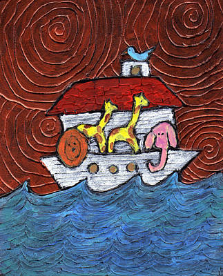 Noah Painting - Noahs Ark With Blue Bird by Wayne Potrafka