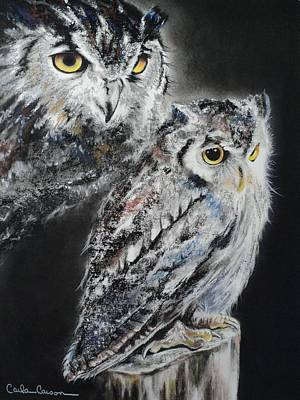 Pastel Portraits Pastel - Noble Owl Guardian Of The Afterlife by Carla Carson
