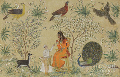 India Wildlife Painting - Noble Woman In A Garden by Mughal School