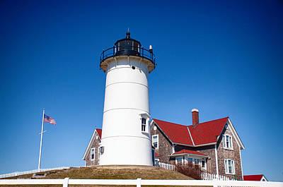 New England Lighthouse Photograph - Nobska On A Cape Cod Hill by Jeff Folger