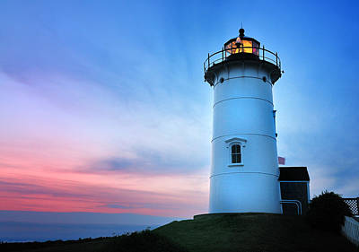 Nobska Point Lighthouse Print by Thomas Schoeller
