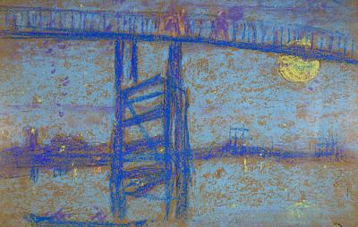 Tonalist Pastel - Nocturne Battersea Bridge  by James Abbott McNeill Whistler