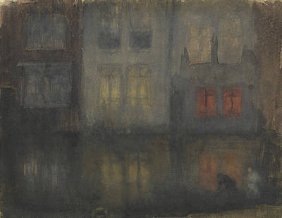 Tonalist Painting - Nocturne Black And Red by James Abbott McNeill Whistler