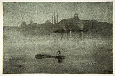 James Abbott Mcneill Whistler Drawing - Nocturne. The Thames At Battersea by James Abbott McNeill Whistler