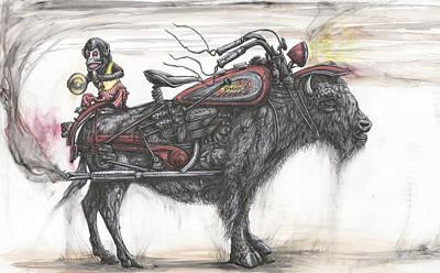 Bison Mixed Media - Nomadic Interstate Grazing by Tai Taeoalii