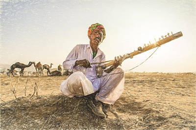 Traditional Folk Dance Digital Art - Nomads Plays Ravanahatha In The Deserts On Pushkar. by Muslianshah Masrie