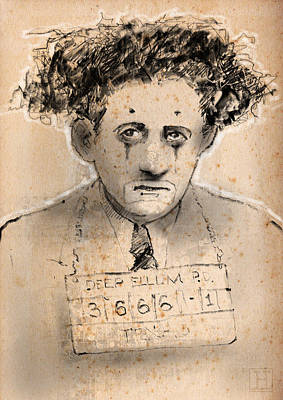 Circus Drawing - Noodle The Nose Mugshot by H James Hoff
