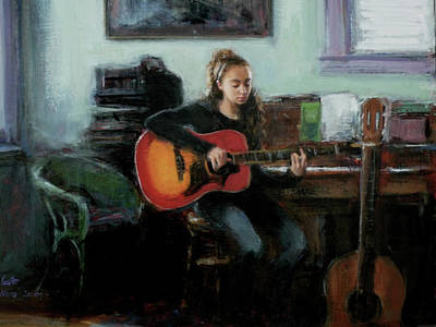 With Guitar Painting - Nora  by Sarah Yuster