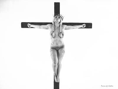 Nordic White Crucifix Print by Ramon Martinez