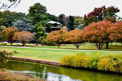 Maple Season Painting - Norfolk Botanical Gardens Canal 13 by Lanjee Chee