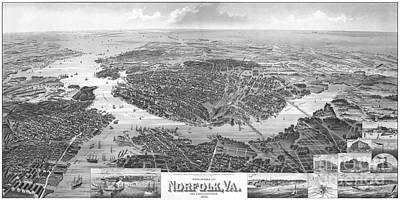 Us Navy Drawing - Norfolk Virginia 1892 by Tim Rudziensky