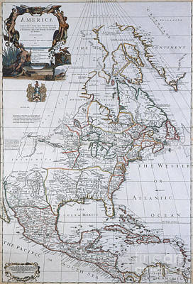 Line Engraving Photograph - North American Map, 1710 by Photo Researchers