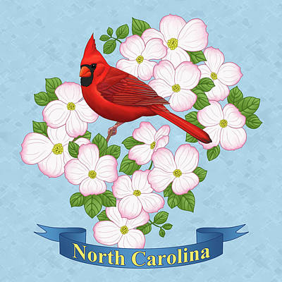 Cardinal Digital Art - North Carolina State Bird And Flower by Crista Forest
