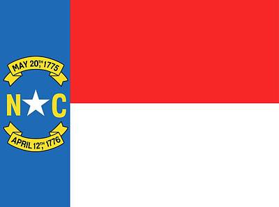 Red White And Blue Painting - North Carolina State Flag by American School