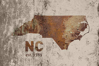 Charlotte Mixed Media - North Carolina State Map Industrial Rusted Metal On Cement Wall With Founding Date Series 022 by Design Turnpike