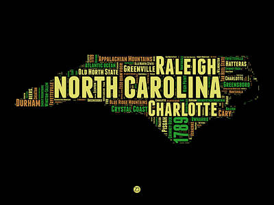 Charlotte Digital Art - North Carolina Word Cloud Map 1 by Naxart Studio