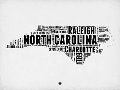 Charlotte Digital Art - North Carolina Word Cloud Map 2 by Naxart Studio