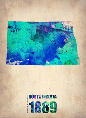 World Map Poster Digital Art - North Dakota Watercolor Map by Naxart Studio