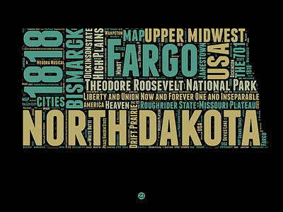 4th Of July Mixed Media - North Dakota Word Cloud 1 by Naxart Studio