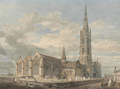 18th Century Painting - North East View Of Grantham Church Lincolnshire by Joseph Mallord William Turner