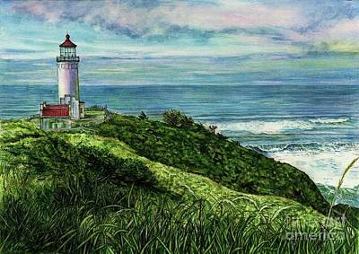 Shower Head Painting - North Head Lighthouse And Beyond by Cynthia Pride