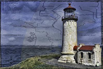 Landscape Photograph - North Head Lighthouse Map by Jean OKeeffe Macro Abundance Art