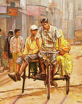 Painting - North India Street Scene  Detail View by Dominique Amendola