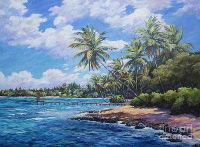 Bahamas Landscape Painting - North Side Coastline  by John Clark