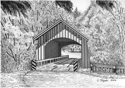 Covered Bridge Drawing - North Yachats Covered Bridge by Lawrence Tripoli
