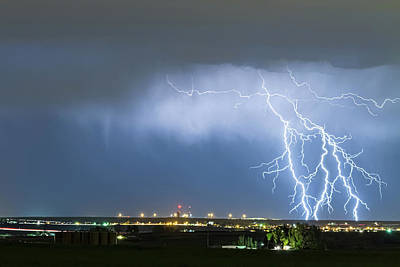 Blue Photograph - Northeast Colorado Lightning Strike And City Lights by James BO Insogna