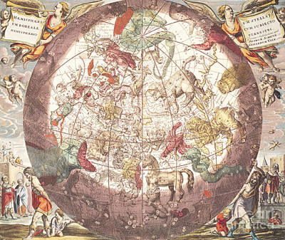 Unicorn Painting - Northern Boreal Hemisphere, From The Celestial Atlas by Andreas Cellarius