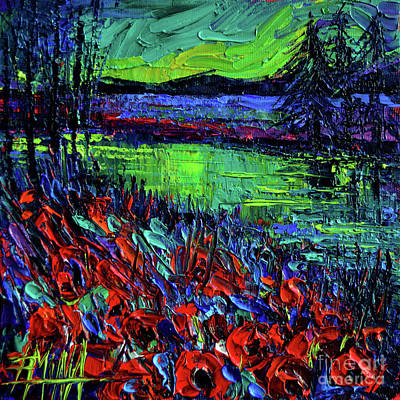 Northern Lights Embracing Poppies Print by Mona Edulesco