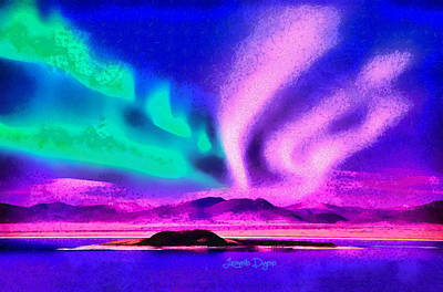 Cloudy Day Painting - Northern Lights In Alaska by Leonardo Digenio