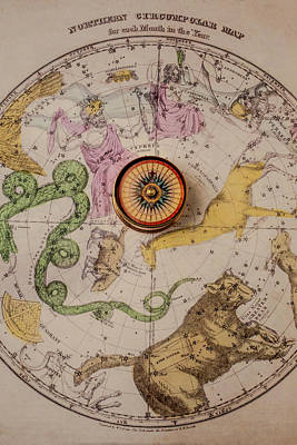 Northern Star Map And Compass Print by Garry Gay